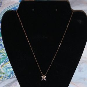 10K Gold Chain with Butterfly CZ Pendant NWT